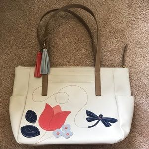 Relic Red Tulip & Dragonfly Tassle Zipper Tote